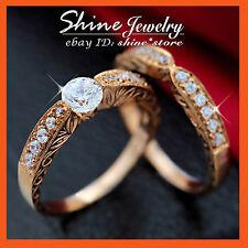 GENUINE 9CT ROSE GOLD CHANNEL ENGAGEMENT WEDDING DIAMOND SIMULANT SOLID RING SET