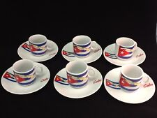 Cuban Espresso coffee cup set. 12 pc cup and saucer set. Cuban Flag design..
