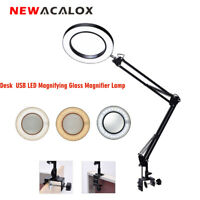 NEWACALOX Large Desk Magnifier LED Lamp with USB LED 5X Magnifying Glass Loupe
