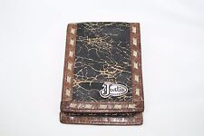 JUSTIN BLACK CRACKLE LEATHER TRIM WESTERN MENS RODEO WALLET SILVER TONE CONCHO