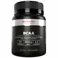 MUSASHI BCAA 60 Capsules Aids Muscle Growth Branched Chain Amino Acids 600mg