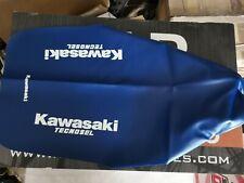 Kawasaki KX 125 250 500 1989 89 1988 88 Seat Cover CR Blue Tecnosel Logo Evo Sky