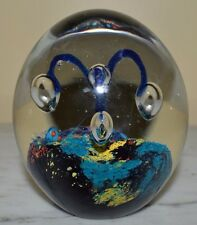 Vintage Multi-Color Intergalactic Space Controlled Bubble Egg Shaped Paperweight