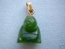 Rich green real JadeTiny Lucky Sitting Buddha Pendant