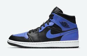 Nike Air Jordan 1 Mid Black/Hyper Royal- White Multiple GS Sizes 554725 077