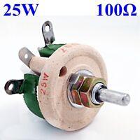 25W 100 Ohm Wirewound Potentiometer Power Rheostat Variable Resistor