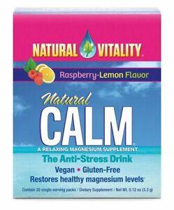 Natural Vitality Natural Calm Restore Magnesium Levels 30x 3.3g Raspberry Lemon