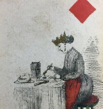 c1862 Historic Antique Playing Cards Crowned Queen Rare Original Court Single