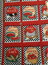 Red Black Chickens Farmhouse Country Retro Kitschy Cotton Fabric VTG 2 yds