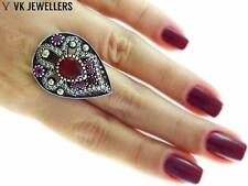 Antique Turkish Traditional Jewelry 925 Silver Handmade Ruby Ring Size 8.5 R3016