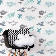 Deep Sea Creatures Allover Stencil - Diy Home Decor - Reusable Stencils
