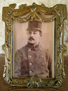 FRENCH ANTIQUE XIX th. C. PICTURE FRAME FRENCH SOLDIER