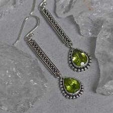 sehr edel Ohrhänger 925 Sterlingsilber Handarbeit Ohrringe Peridot granuliert