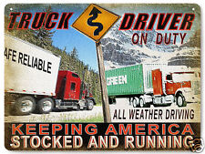 SEMI TRUCK METAL sign Trucker on duty mancave gift vintage style wall decor 331