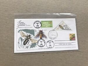 US 1998 Triple FDC +Honey Bees #3243 +3351 + Mongolia Franking +HH Perfin O/P?