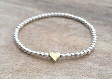 Simple Silver & Gold Heart Ball Beaded Stretch Bracelet Stacker Gift