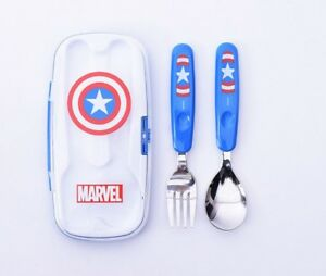 Marvel Captain America Spoon Fork Set for Kids Boys Cutlery Cute Design Utensils