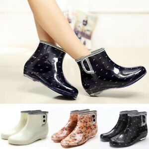 Fashion Womens Ankle Rain Boot Waterproof Rubber Short Carf Anti-Slip Shoes Size