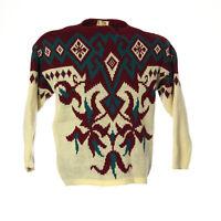 Damen Vintage Strickpullover Sweater Größe M Reine Wolle Pullover Retro Muster