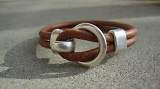 Men's Brown Genuine Leather Bracelet Surfer Wristband Antique Silver  USA