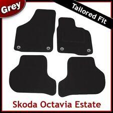 SKODA OCTAVIA Estate Mk2 2004...2013 Tailored Carpet Car Mats (Round Clip) GREY
