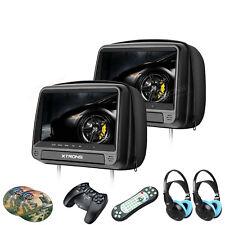XTRONS 2 Pcs Black 9 Inch HDMI Headrest Pillow DVD Player USB Game IR Headphones