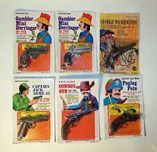 Set of 6 Vintage 1970's Miniature Die Cast Cap Gun  Pistols - Hong Kong