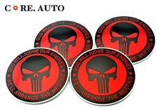 4X 56.5mm Red Skull The Punisher Auto Wheel Center Emblem For Derivative Sticker