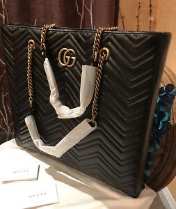 Stunning! GUCCI 524576 Marmont Leather Tote Bag Handbag Black With GG Logo Chevr