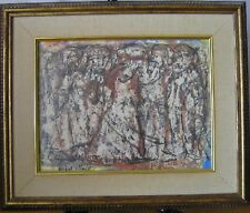 Anibal Villacis Signed Mid Century Informalist Mixed Media Painting 2 10 X 13