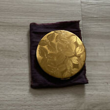 Vintage Gold Mirrored Compact with leaf design imprint
