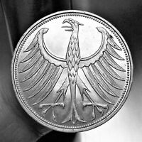 1951 D Germany - Federal Republic 5 Mark, SILVER, KM# 112.1, UNCIRCULATED