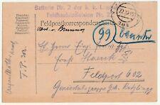 K.u.k. Landwehr, Feldhaubitzdivision Nr.22, Feldpost 303 zur Feldpost 602