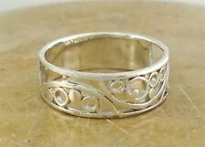 PRETTY .925 STERLING SILVER FILIGREE SWIRL BAND RING size 8  style# r1912