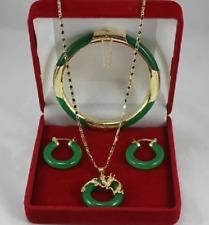 New - fashion beautiful green jade jewelry set AAA++