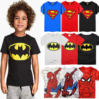 Kids Boys Superman Spiderman T-Shirt Summer Casual Short Sleeve Tee Shirts Tops