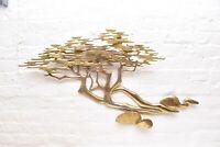 """Signed Bijan 40"""" Bonsai Brass Tree Wall Art Sculpture Mid Century Modern Art"""
