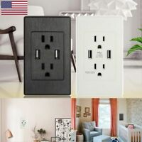 Dual USB Wall Outlet Charger Port Socket with 15A Electrical Receptacles