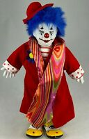 PORCELAIN BLUE HAIRED CLOWN DOLL BEAUTIFUL PAINT AND DETAIL COLLECTIBLE VINTAGE