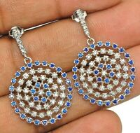 4CT Blue Sapphire & White Topaz 925 Solid Sterling Silver Earrings Jewelry, W-31