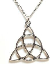 "CELTIC KNOT_Pendant on 20"" Chain Necklace_Triquetra Irish Trinity Pagan_233N"