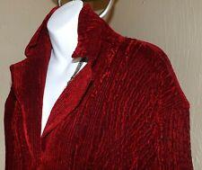 Women's Burgundy Button Up Sweater XXL Velvet Knit Pockets Long Sleeve