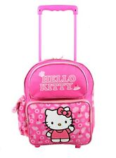 """Hello Kitty Rolling Backpack 12"""" Travel Small Kids School Toddler Wheeled Bag"""