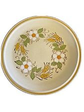 Vintage Hearthside Japan Garden Festival hand-painted 10 Oval Baket Yellow band Speckled Ground New Old Stock