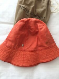 helen kaminski waxed hat vibrant orange colour