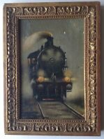 French Impressionist Antique Oil Painting Railway Locomotive c1924 Signed MOREAU