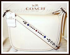 NWT NEW $450 Coach Studded Strap Patricia Leather Crossbody Bag CHALK WHITE 2017