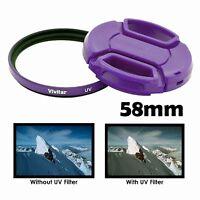Vivitar 58mm UV Filter and Snap-On Lens Cap, Purple