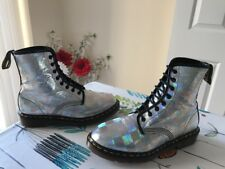 Rare! Dr. Martens Airwair 1460 Silver Hologram Leather Sz UK8 *Made In England*