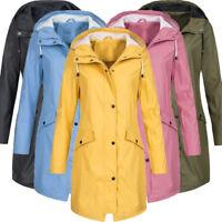 Women's Rain Jacket Outdoor Hoodie Waterproof Long Maxi Coat Overcoat Windproof